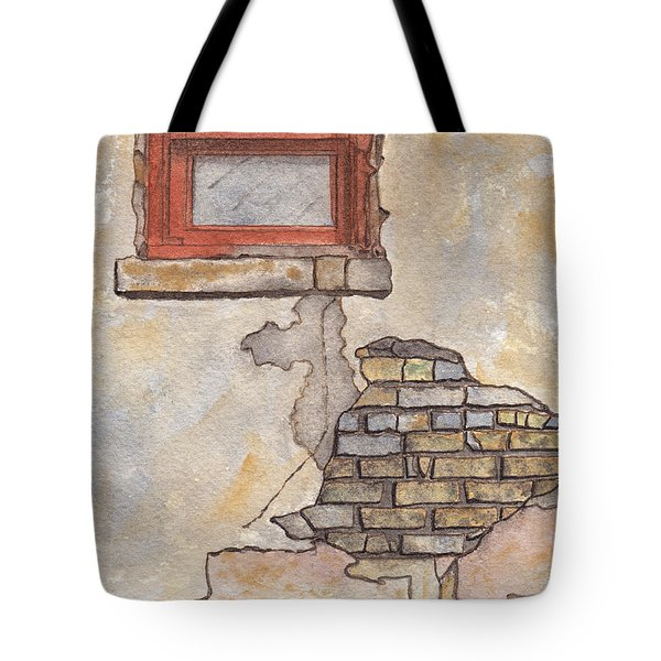 Window With Crumbling Plaster Tote Bag by Ken Powers