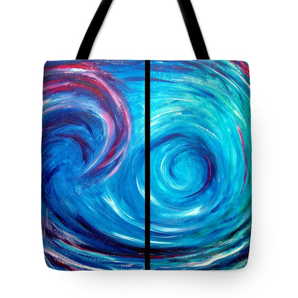 Windswept Blue Wave And Whirlpool 2 Tote Bag by Nancy Mueller