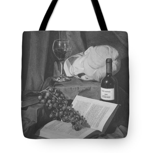 Wine And A Book Tote Bag by Michael Malta