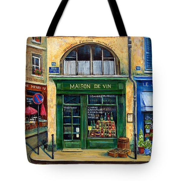 Wine And Flowers Tote Bag by Marilyn Dunlap