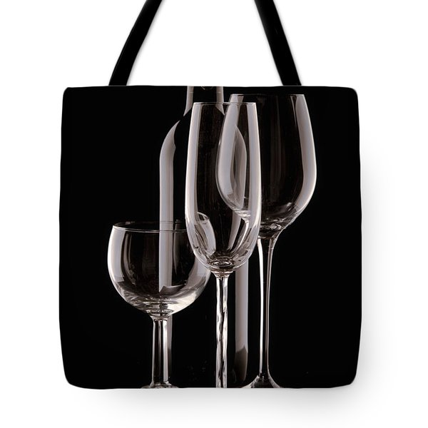 Wine Bottle And Wineglasses Silhouette Tote Bag by Tom Mc Nemar