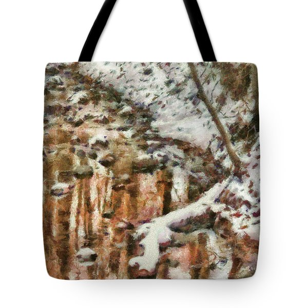 Winter - Natures Harmony Painted Tote Bag by Mike Savad
