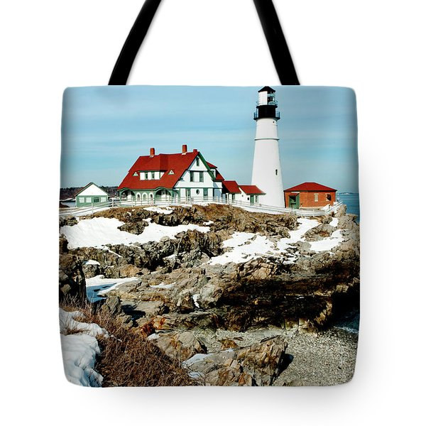Winter at Portland Head Tote Bag by Greg Fortier