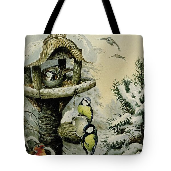 Winter Bird Table With Blue Tits Tote Bag by Carl Donner