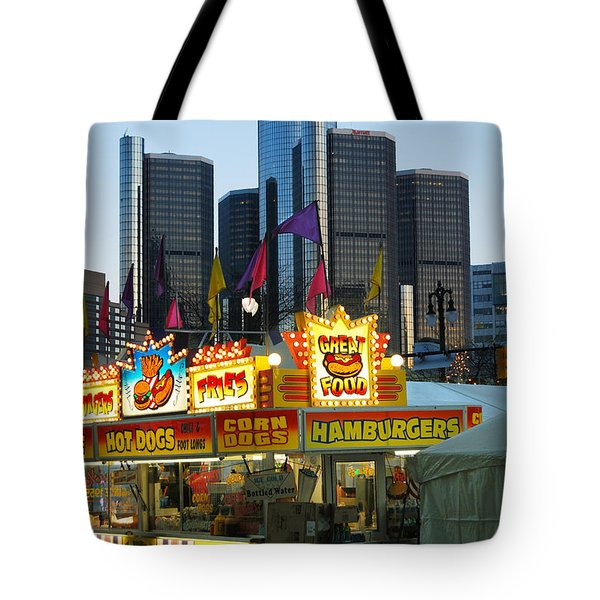 Winter Blast in Detroit Tote Bag by Michael Peychich