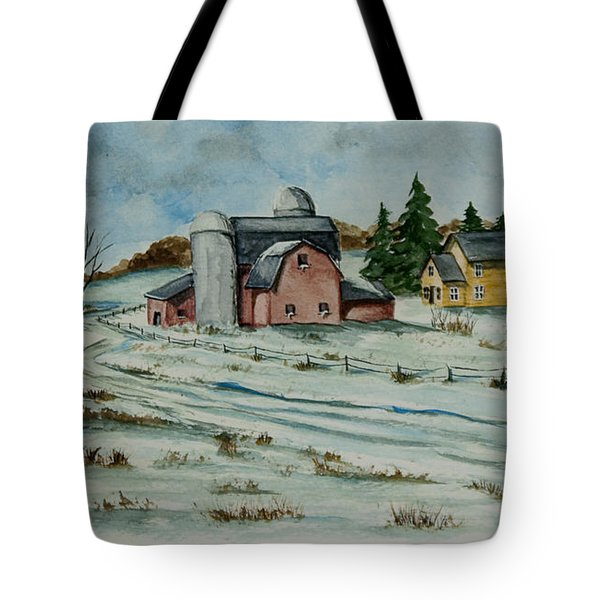 Winter Down On The Farm Tote Bag by Charlotte Blanchard