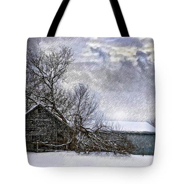 Winter Farm Tote Bag by Steve Harrington