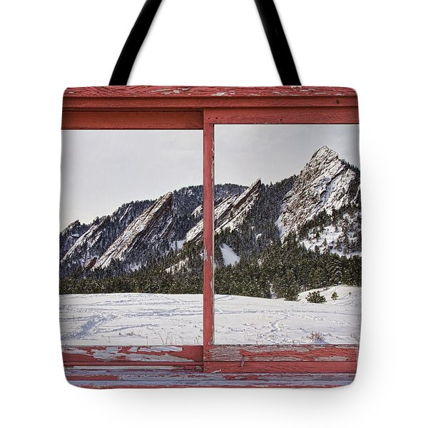 Winter Flatirons Boulder Colorado Red barn Picture Window Frame  Tote Bag by James BO  Insogna