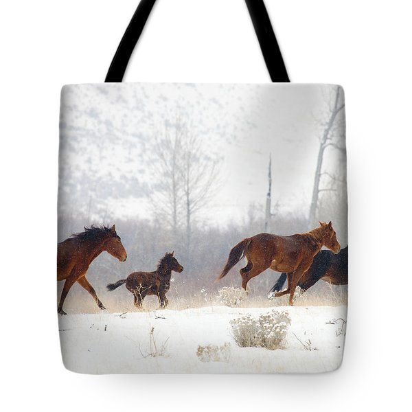 Winter Gallop Tote Bag by Mike  Dawson