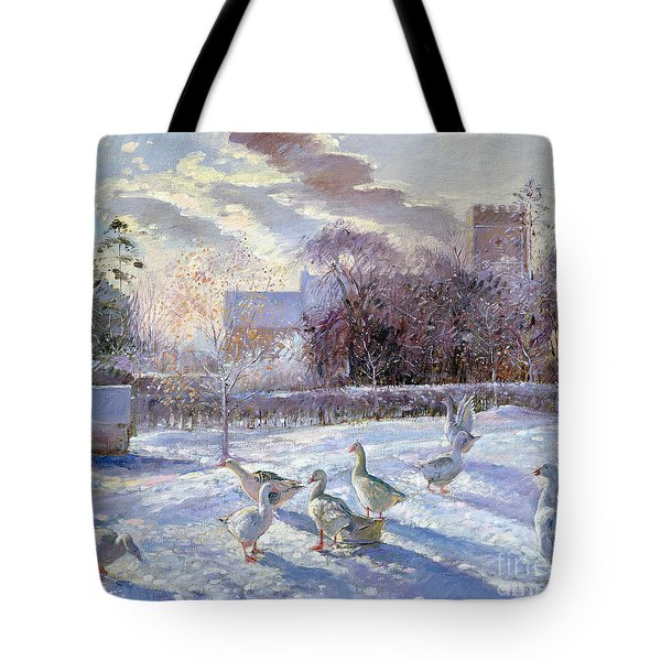 Winter Geese In Church Meadow Tote Bag by Timothy Easton