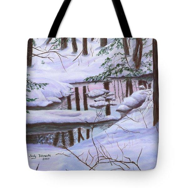 Winter Landscape Tote Bag by Judy Filarecki