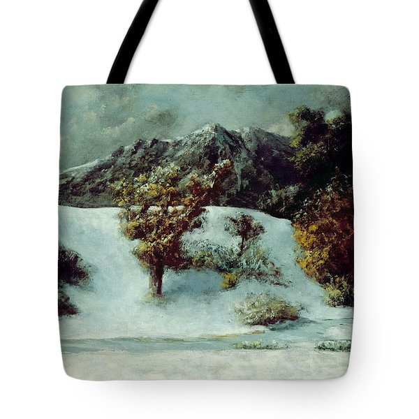 Winter Landscape With The Dents Du Midi Tote Bag by Gustave Courbet