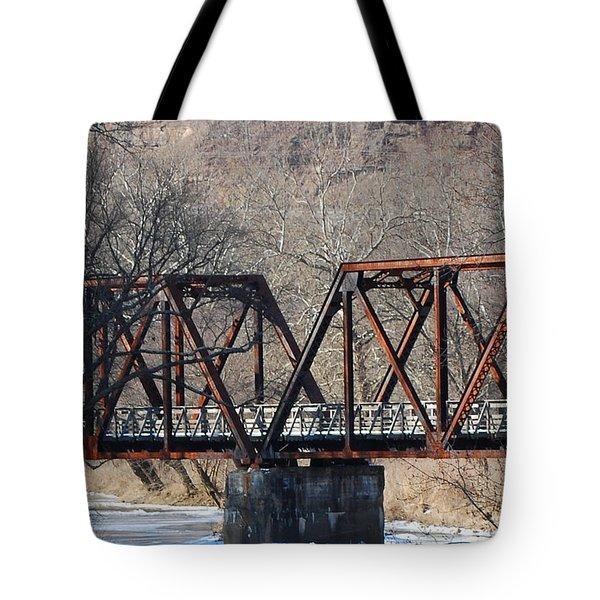 Winter On Knapps Creek Tote Bag by Randy Bodkins