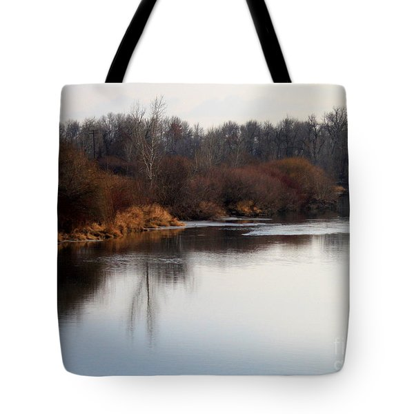 Winter Riverbank Tote Bag by Carol Groenen