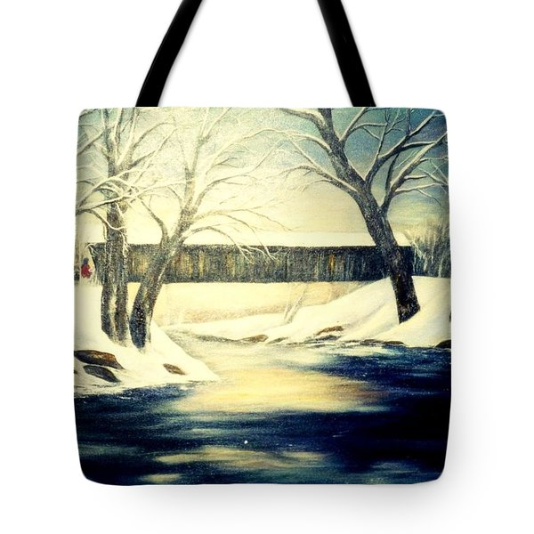 Winter Walk At Bennett's Mill Bridge Tote Bag by Gail Kirtz