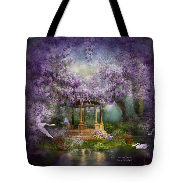 Wisteria Lake Tote Bag by Carol Cavalaris