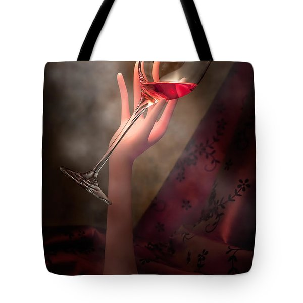 With Glass In Hand Tote Bag by Tom Mc Nemar