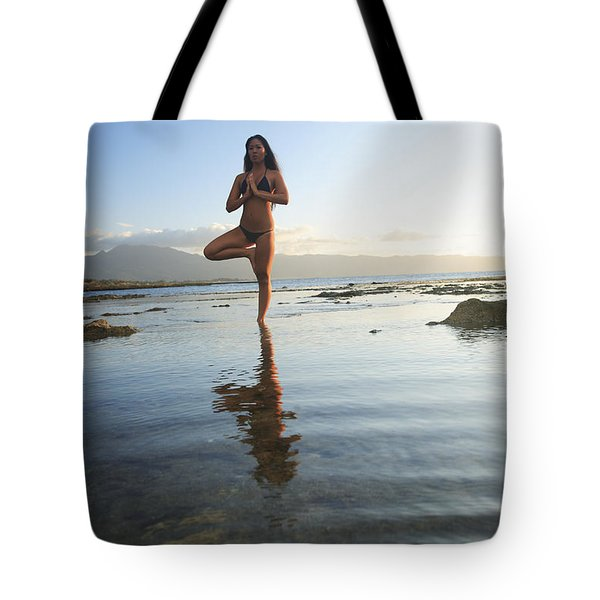 Woman doing Yoga Tote Bag by Brandon Tabiolo - Printscapes