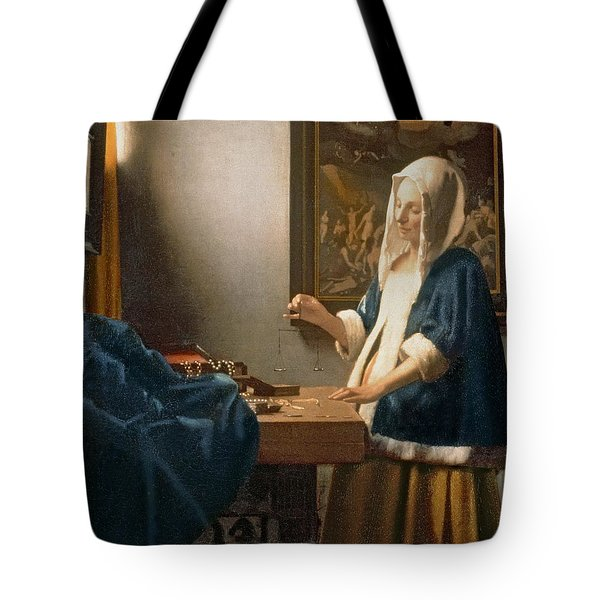 Woman Holding A Balance Tote Bag by Jan Vermeer