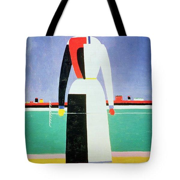 Woman With A Rake Tote Bag by Kazimir Severinovich Malevich