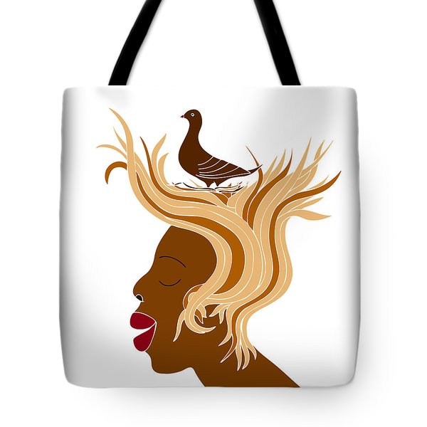 Woman with bird Tote Bag by Frank Tschakert
