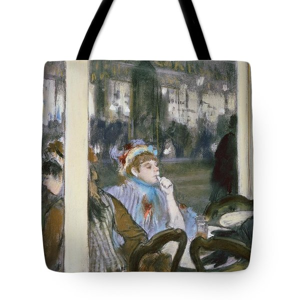 Women On A Cafe Terrace Tote Bag by Edgar Degas