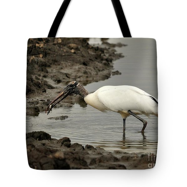 Wood Stork With Fish Tote Bag by Al Powell Photography USA