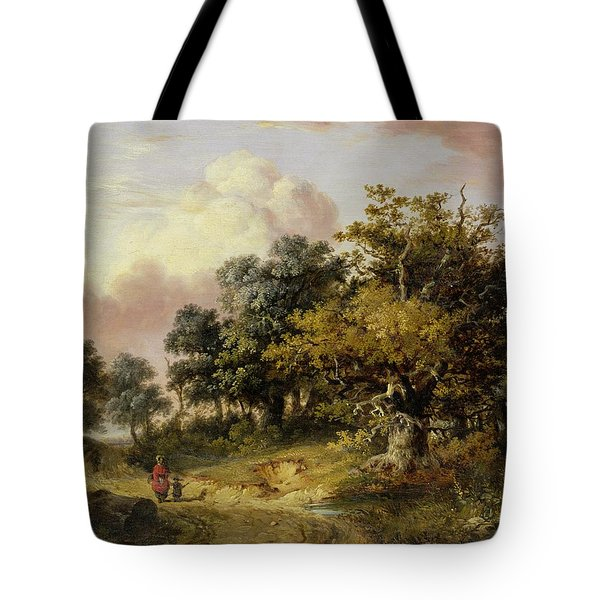 Wooded Landscape With Woman And Child Walking Down A Road  Tote Bag by Robert Ladbrooke