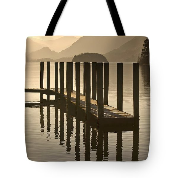 Wooden Dock In The Lake At Sunset Tote Bag by John Short