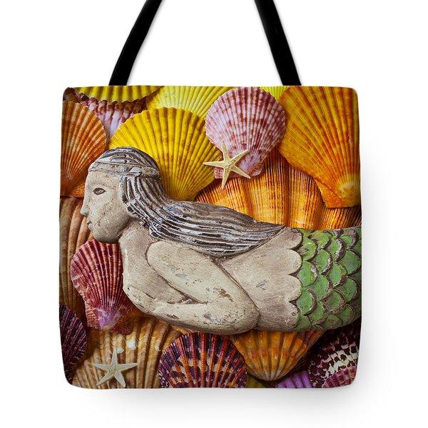 Wooden Mermaid Tote Bag by Garry Gay