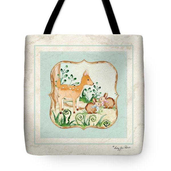 Woodland Fairy Tale - Deer Fawn Baby Bunny Rabbits In Forest Tote Bag by Audrey Jeanne Roberts
