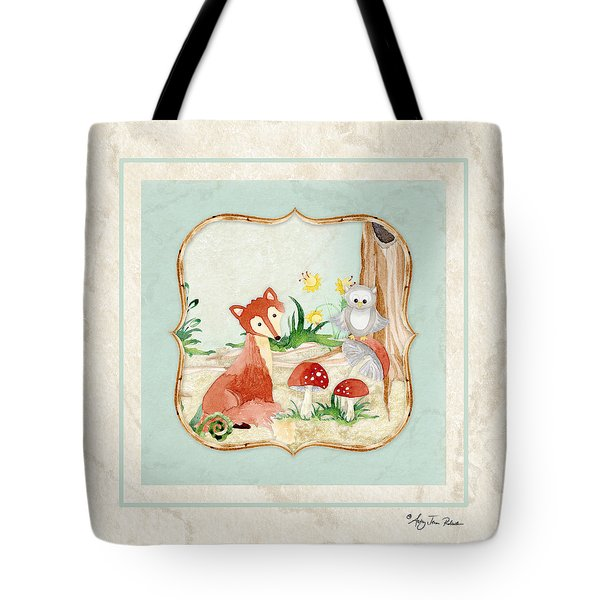 Woodland Fairy Tale - Fox Owl Mushroom Forest Tote Bag by Audrey Jeanne Roberts