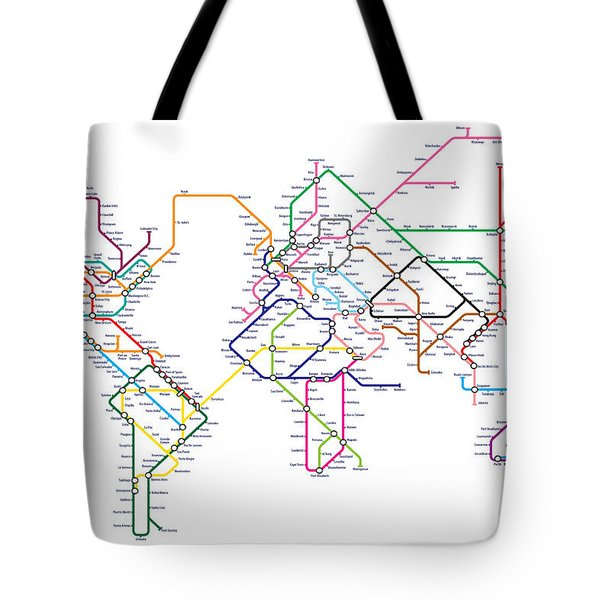 World Metro Tube Subway Map Tote Bag by Michael Tompsett