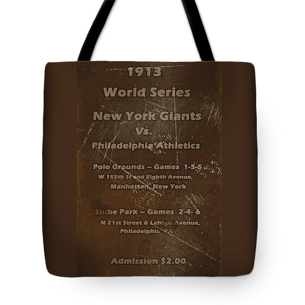 World Series 1913 Tote Bag by David Dehner