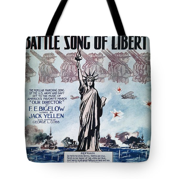 World War I: Song Sheet Tote Bag by Granger