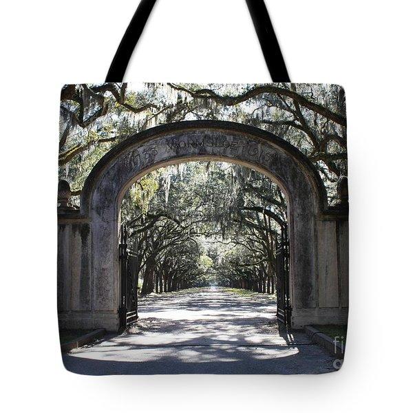 Wormsloe Plantation Gate Tote Bag by Carol Groenen