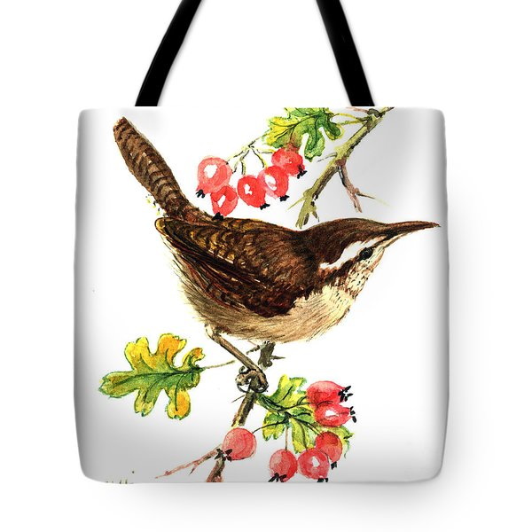 Wren And Rosehips Tote Bag by Nell Hill