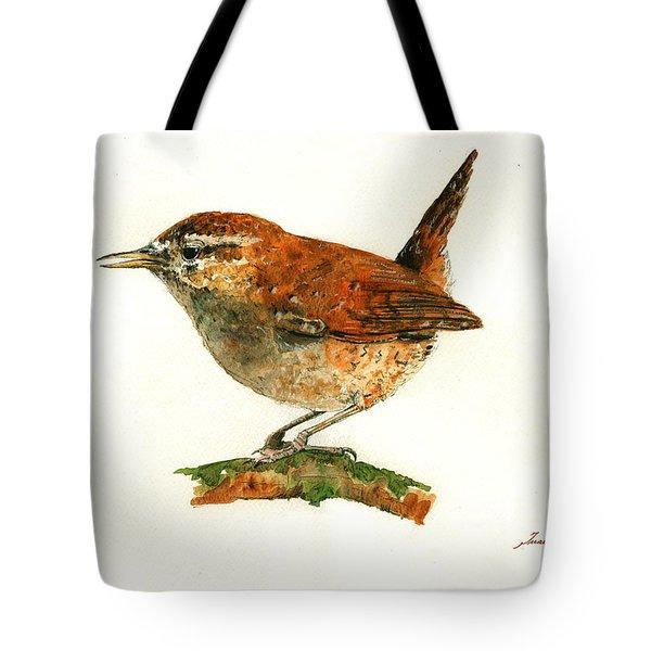 Wren Bird Art Painting Tote Bag by Juan  Bosco
