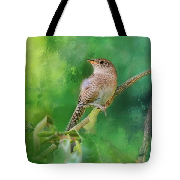 Wren In The Garden Bird Art Tote Bag by Jai Johnson