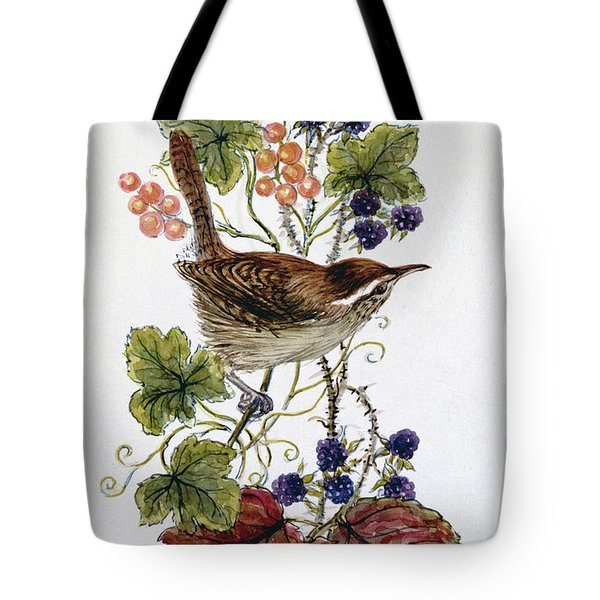 Wren On A Spray Of Berries Tote Bag by Nell Hill