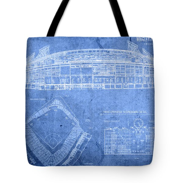 Wrigley Field Chicago Illinois Baseball Stadium Blueprints Tote Bag by Design Turnpike