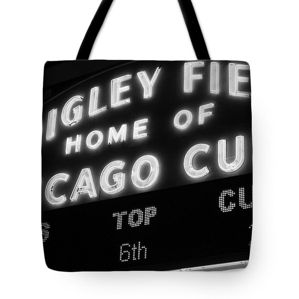 Wrigley Field Sign Black And White Picture Tote Bag by Paul Velgos