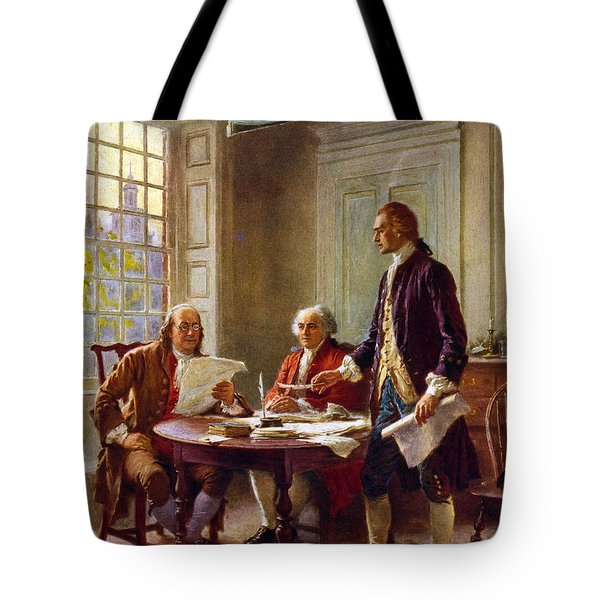 Writing The Declaration Of Independence, 1776, Tote Bag by Leon Gerome Ferris