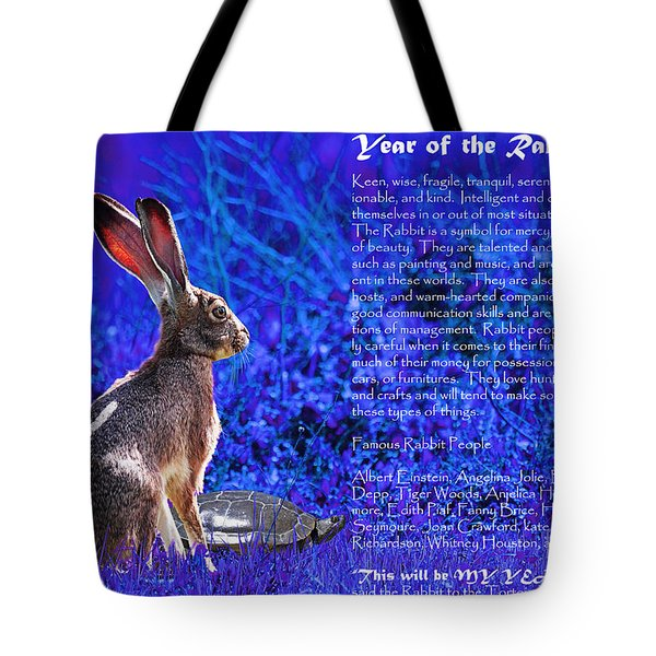 Year of the Rabbit 2011 . blue Tote Bag by Wingsdomain Art and Photography