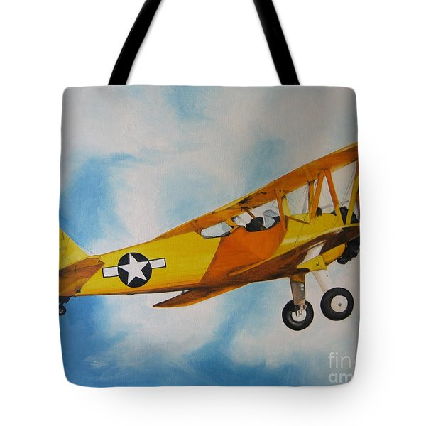 Yellow Airplane - Detail Tote Bag by Jindra Noewi