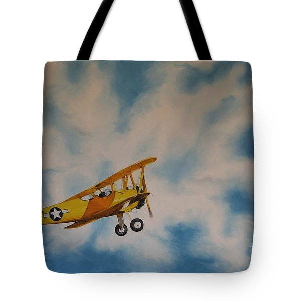 Yellow Airplane Tote Bag by Jindra Noewi
