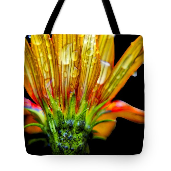 Yellow And Orange Wet Zinnias. Tote Bag by Elizabeth Greene