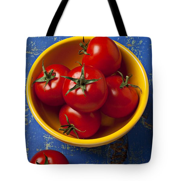 Yellow Bowl Of Tomatoes  Tote Bag by Garry Gay