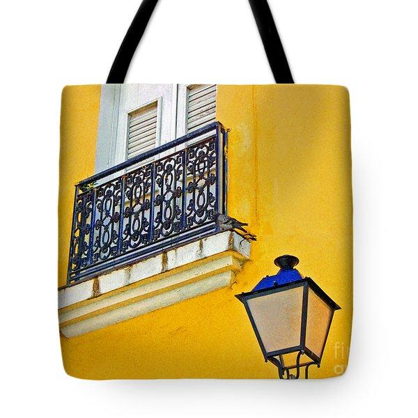Yellow Building Tote Bag by Debbi Granruth
