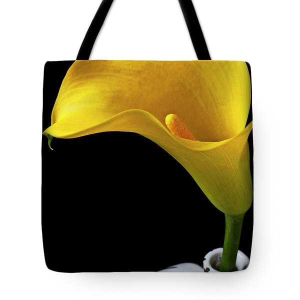 Yellow calla lily in black and white vase Tote Bag by Garry Gay